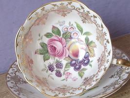 Vintage Paragon England Fruit grapes pink rose gold bone china tea cup teacup - $147.51