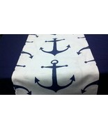 "For Lisa- Navy anchor runner 74"" and 3 placemats 5/14 - $44.00"