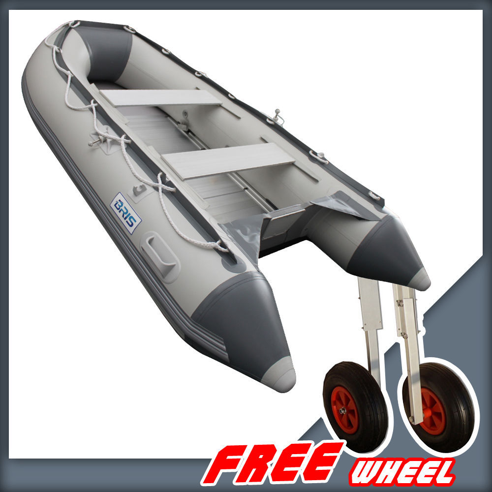 BRIS 9.8ft Inflatable Boat Tender Fishing Raft Dinghy Boat + Free Launch Wheels