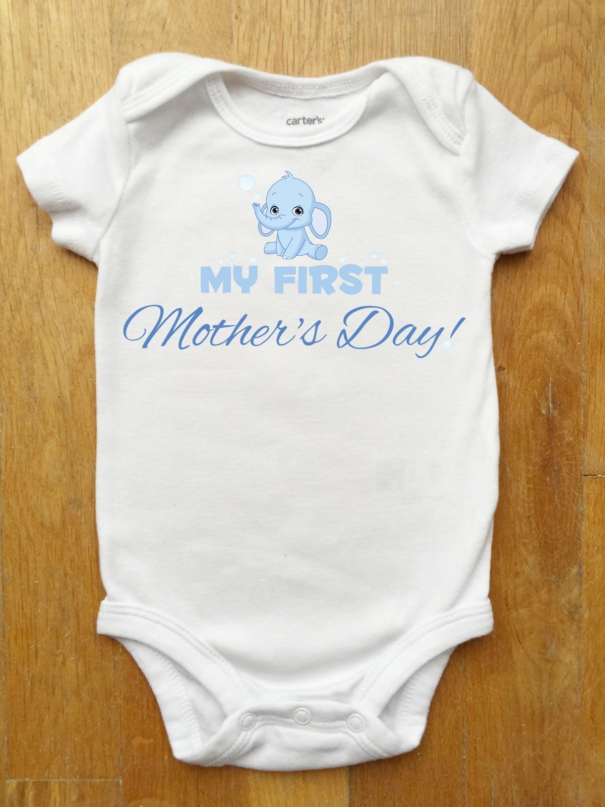 44225f697 First Mothers Day Onesie for Baby Boys with a Cute Elephant Blowing Bubbles
