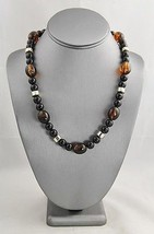 VINTAGE Jewelry PLASTIC TORTOISESHELL & BLACK BEAD NECKLACE HIDDEN CLASP... - $10.00