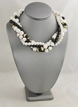 "VINTAGE Jewelry CHUNKY BLACK & WHITE PLASTIC BEAD TORSADE NECKLACE - 17"" - $10.00"