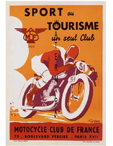 Sport Tourisme Vintage Motorcycle Racing 13 x 10 inch Advert Giclee CANV... - $19.95