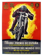 Gran Premio Espana Vintage 13 x 10 in Motorcycle Racing Adv Giclee CANVA... - $19.95