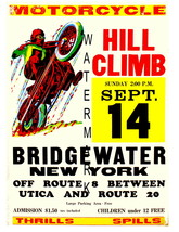 Bridgewater Vintage Motorcycle Hill Climb 13 x 10 in Advert Giclee CANVA... - $19.95
