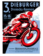 Dieburger Vintage Motorcycle Racing 13 x 10 inch Advertising Giclee CANV... - $19.95