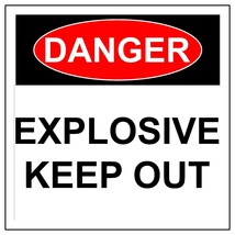 Danger Explosive Sign, Aluminum Metal Health & Safety Warning UV Print S... - $54.59+