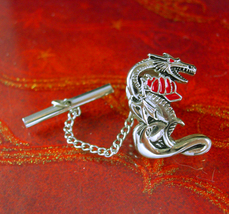 Fireman tie tack Vintage Oriental Dragon with firefighter hat Chinese Asian figu - $85.00