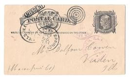 1881 UX5 Springfield IL Multiple Cancels Fancy Duplex Bullseye MISSENT Aux Mark - $49.00