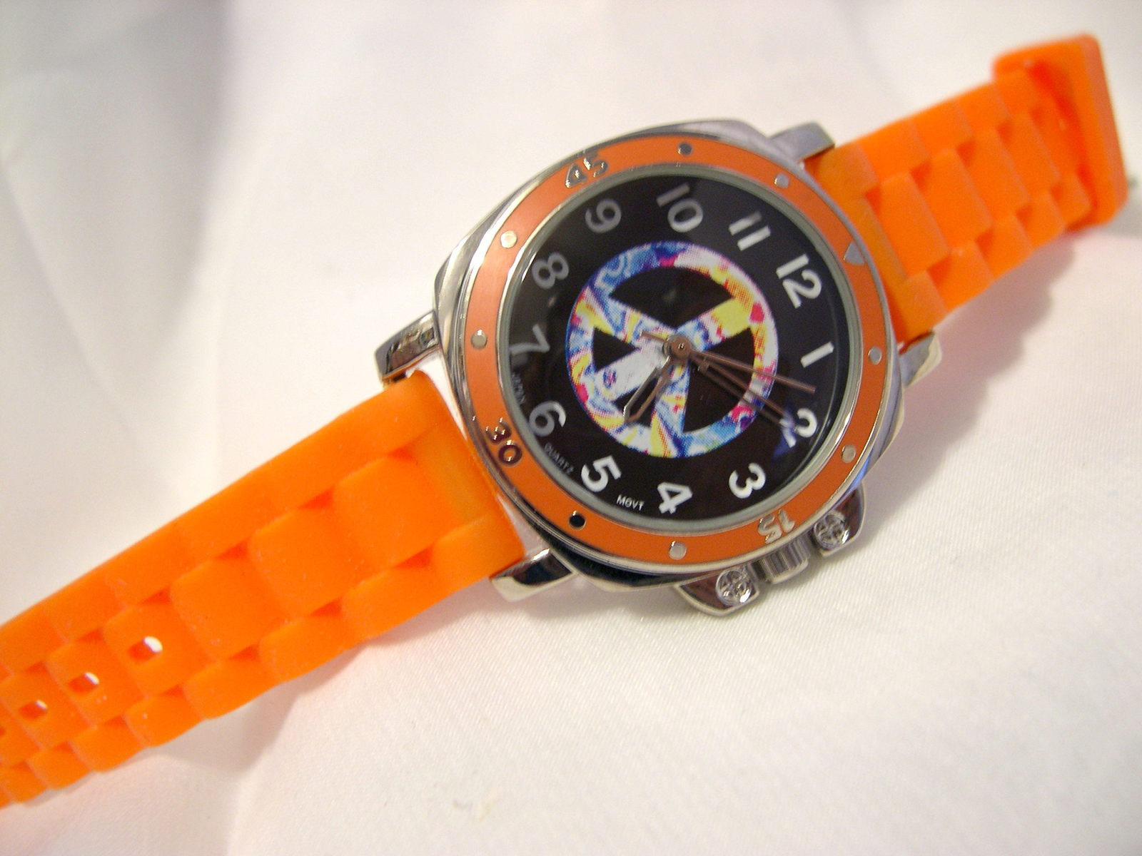 "Primary image for L74, Collezio, Ladies Watch, Peace Sign, 8"" Orange Silicon Band, 7924978, wb"