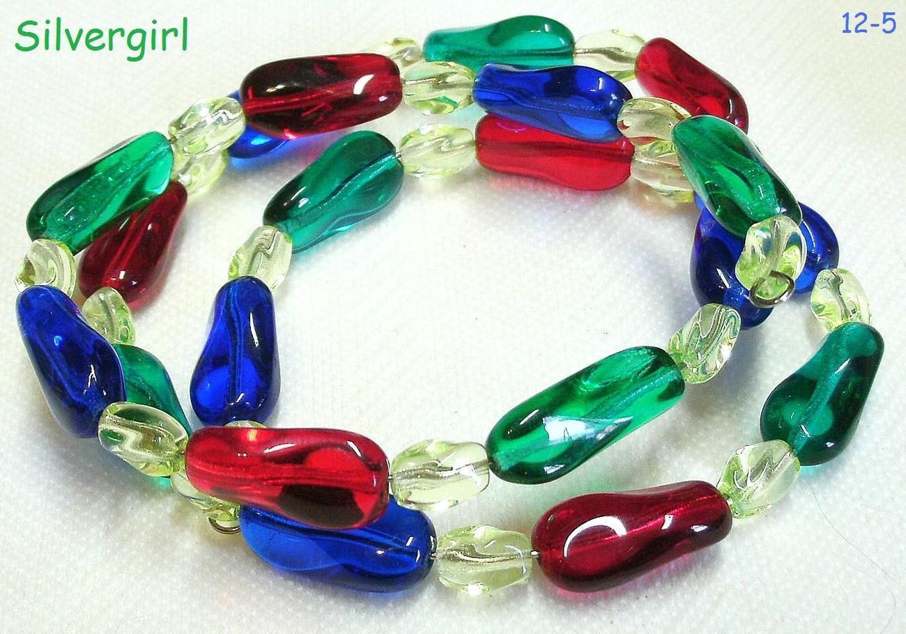 Red blue green yellow glass twist bead wrap bracelet