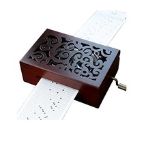 YouTang Vintage Carved Wood 30 Note Mechanism Musical Box Handcrank Musi... - $72.98