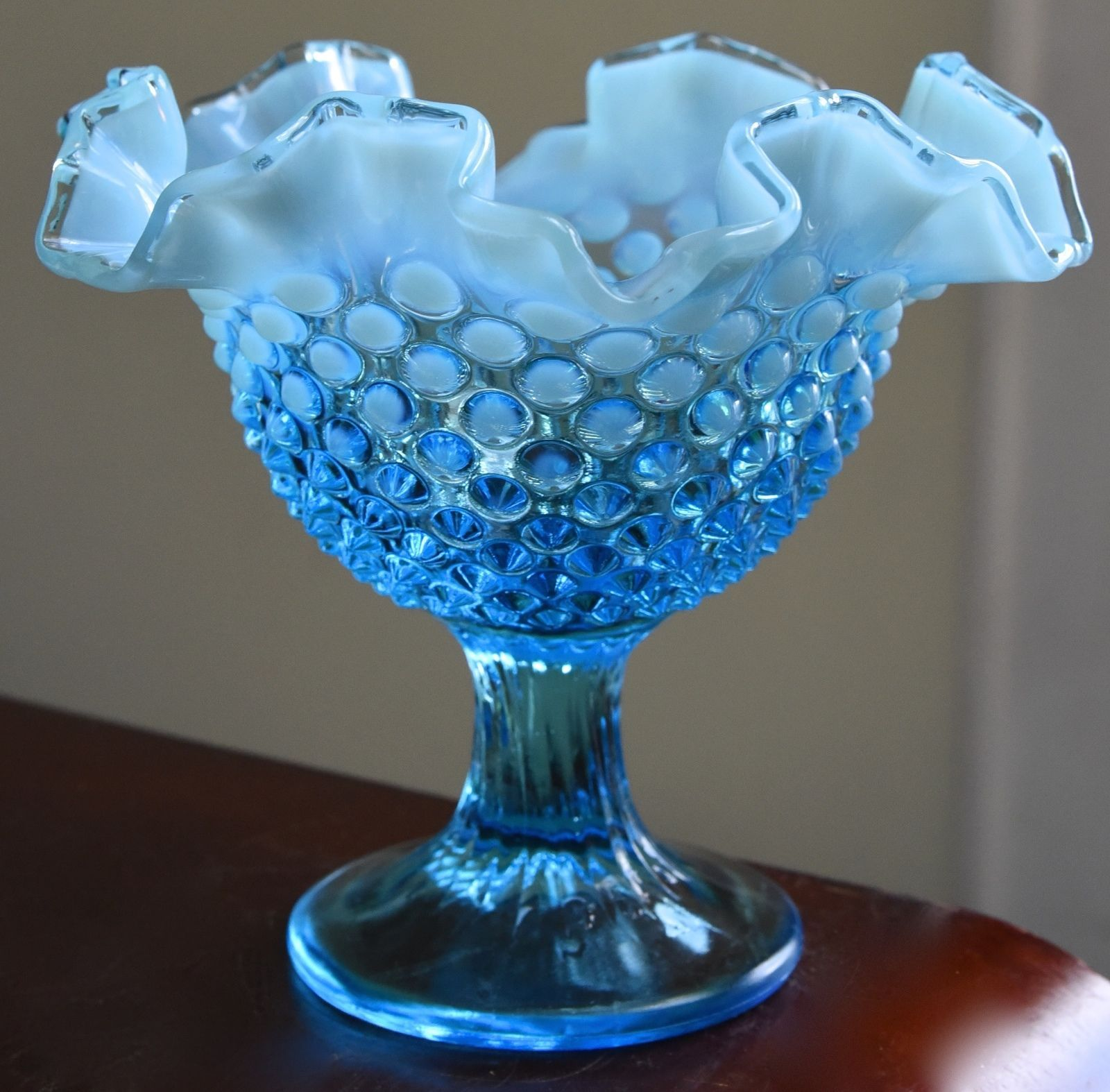 Primary image for PALE BLUE GLASS MILK GLASS CASED HOBNAIL RIPPLE CRIMPED RIM COMPOTE BOWL DESSERT