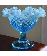 PALE BLUE GLASS MILK GLASS CASED HOBNAIL RIPPLE CRIMPED RIM COMPOTE BOWL... - $89.99