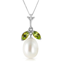"4.5 CTW 14K Solid White gold fine Here Is Hope Peridot pearl Necklace 20"" - $154.04"