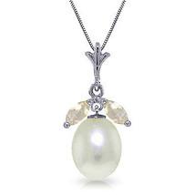 "4.5 CTW 14K Solid White gold fine Necklace 20"" Parl White Topaz - $154.04"
