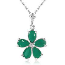 """2.22 CTW 14K Solid White gold fine Necklace 16"""" genuine Emerald Diamond - $245.42"""
