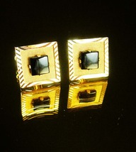 Vintage Black Gold Cufflinks CLASSIC Shields   mens formal wear accessory gradua - $70.00