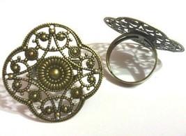 4pc antique bronze 32mm filigree ring setting-5081 - $2.85