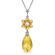 "2.78 CTW 14K Solid White gold fineCitrine Diamond Necklace 16"" - $188.66"