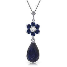 "3.83 CTW 14K Solid White gold fine Blink Sapphire Diamond Necklace 16"" - $199.55"