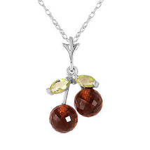 "1.45 CTW 14K Solid White gold fine Slow But Sure Garnet Peridot Necklace 18"" - $104.96"
