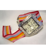 "L74, Bijox Terner, Ladies 8.5"" Canvas Strap Watch, Large MoP Face w/ Cry... - $15.83"