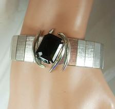 Elegant silver bracelet sophisticated Black rhinestone stylish spider ce... - $55.00