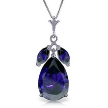 """5.15 CTW 14K Solid White gold fine Great Personality Sapphire Necklace 18"""" - $319.71"""