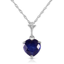 "1.55 CTW 14K Solid White gold fine Necklace 16"" genuine Heart Sapphire - $128.48"
