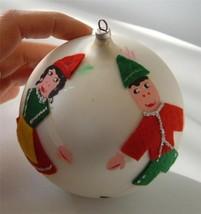 "Vintage Blown Glass Ball Xmas Ornament Hand Painted Austria Felt Man Lady  4"" - $19.78"