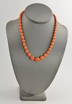 "18"" VINTAGE Jewelry ART DECO ERA CORAL PLASTIC GRADUATED OVAL BEAD NECKL... - $25.00"
