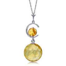 "5.8 CTW 14K Solid White gold fine Actions Speak Citrine Necklace 20"" - $165.12"