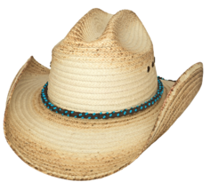 Bullhide All Eyes On You Palm Leaf Straw Cowgirl Hat Turquoise Bead Band... - $67.00
