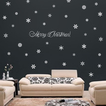 73 Snowflakes & Merry Christmas! Holiday Wall Window Art Vinyl Decal Sti... - $18.89