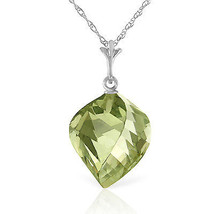 "13 CTW 14K  White gold fine Necklace 16"" Twisted Briolette Green Amethyst - $170.42"