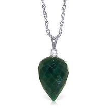 "12.95 CTW 14K Solid White gold fine Necklace 16"" Diamond Briolette Emerald - $164.16"