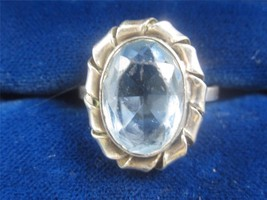 VTG MODERNIST 800 SILVER & FACETED AQUA ART GLASS STONE RING - SIGNED EH... - £18.94 GBP
