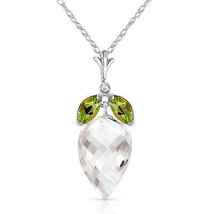 "12.75 CTW 14K  White gold fine Necklace 16"" Peridot Briolette White Topaz - $211.04"