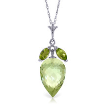 "10 CTW 14K  White gold fine Necklace 16"" Peridot Briolette Green Amethyst - $175.57"