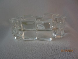 BIG CHUNKY SIGNED MURANO CLEAR GLASS ICE CUBE LINK ELASITC BRACELET - $55.00