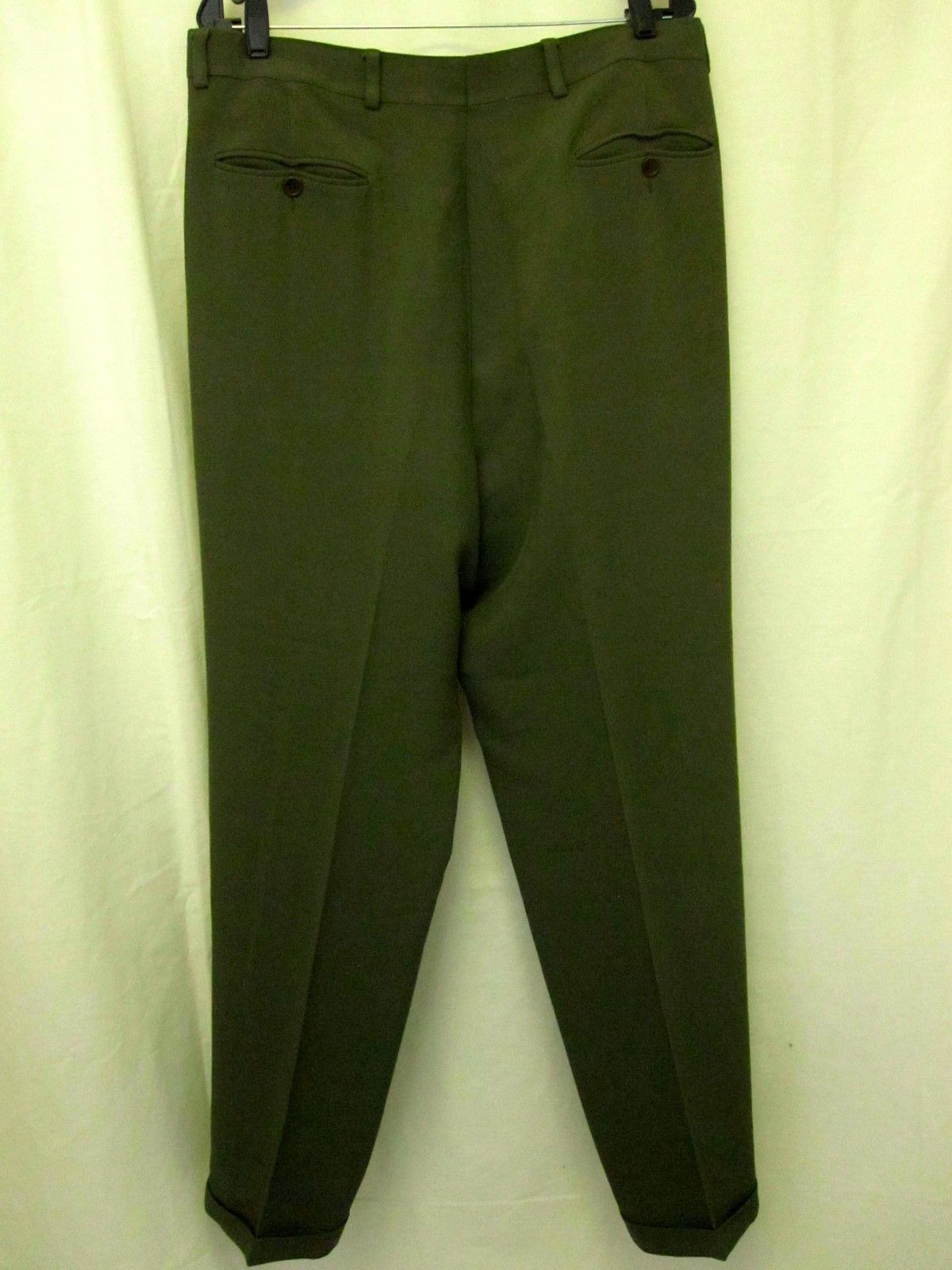 Giorgio Armani Pants 34 X 31 Green Wool Blend 2 Pleat Trousers Mens