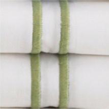 Sferra Grande Hotel King Sheet Set Italian Percale White with Green Embr... - $330.00