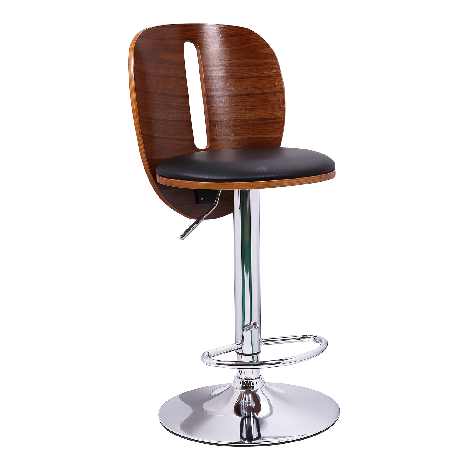 And Walnut Color Wood Bar Stool With Vertical Cut Out Bar Stools. Full resolution  image, nominally Width 1500 Height 1500 pixels, image with #9E5C2D.