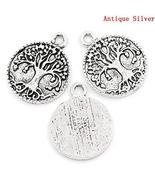 Tree of Life Charms 22mm Antiqued Silver Plated Pendants 5 pcs - $9.80