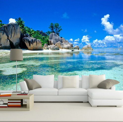 3d tropical beach island ocean wallpaper for walls ocean for Beach mural for wall