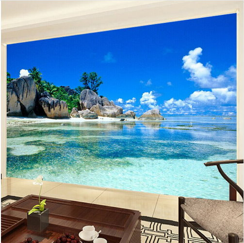 3d tropical beach island ocean wallpaper for walls ocean for Beach wall mural