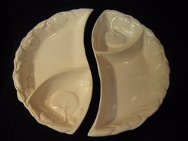 Vintage Belmar of California Pottery Set of 2 Chip and Dip Veggie Trays - $21.03