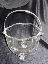 Ice Bucket Vintage Fostoria Coronet Crystal Footed Crome Handle - $45.49