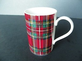 "DUNOON STONEWARE ""HUNTING BARCLAY"" TARTAN DESIGN RED MUG - GREAT CONDITION! - $2.49"